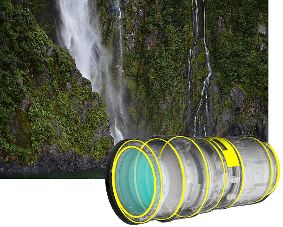 AF-S NIKKOR 24-70mm f/2.8E ED VR photo of a waterfall coming off a cliff, inset with an illustration of the lens design