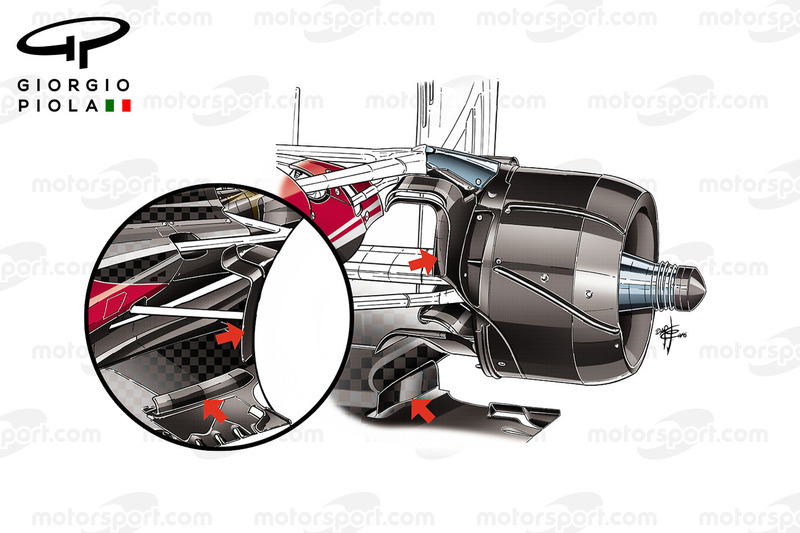 Ferrari SF16-H rear brake ducts comparison, Brazilian GP
