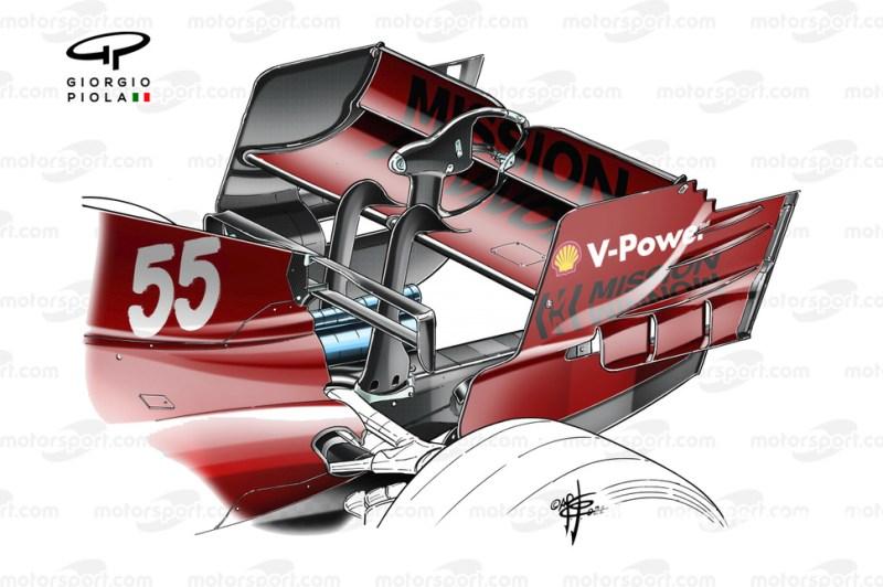 Ferrari SF21 rear wing at the Spanish GP