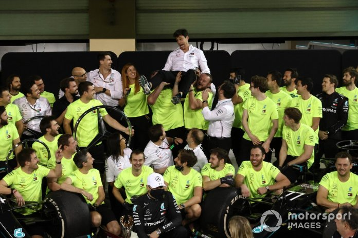 Toto Wolff, Executive Director (Business), Mercedes AMG, and the Mercedes team celebrate another succesful World Championship campaign