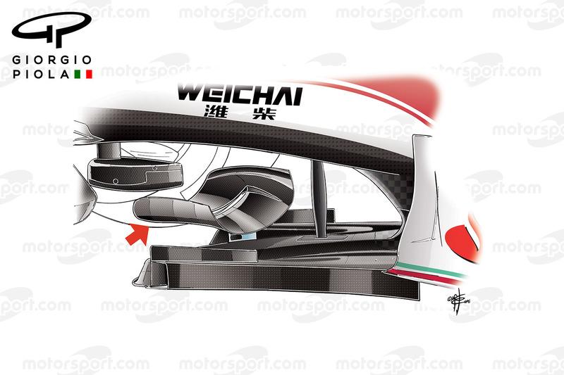 Ferrari SF16-H T Tray skid wing, captioned, Mexican GP