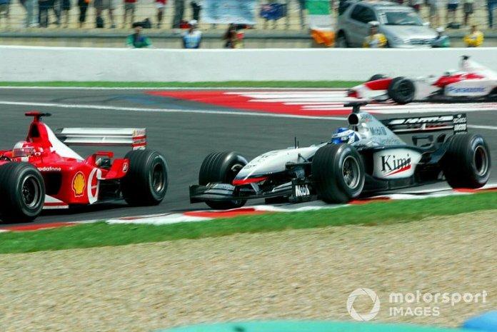 Running wide on oil from McNish's expired Toyota cost Raikkonen a maiden win to Schumacher