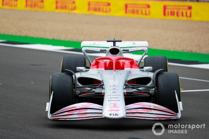 The 2022 Formula 1 car launch event on the Silverstone grid. Front detail