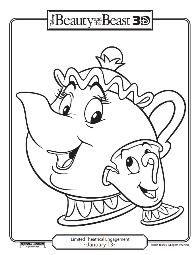 Disney 39 s beauty and the beast printables coloring pages for Beauty and the beast coloring pages