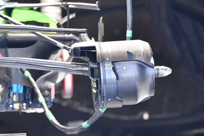 Aston Martin AMR21 front brake duct without crossover panel detail