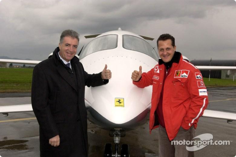 Piero Ferrari and Michael Schumacher at Ferrari F2003-GA vs Eurofighter Typhoon, Grosseto, Italy