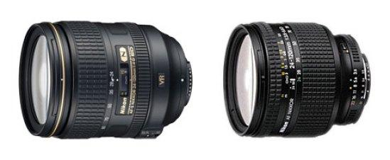 AF-S version of Nikon 24-120mm lens; (r.) AF version of Nikon 24-120mm lens.