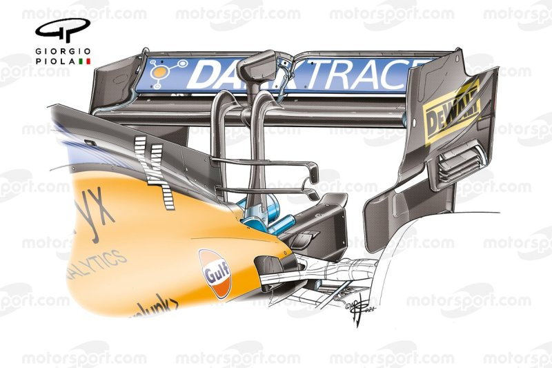 McLaren MCL35M rear wing at the Russian GP