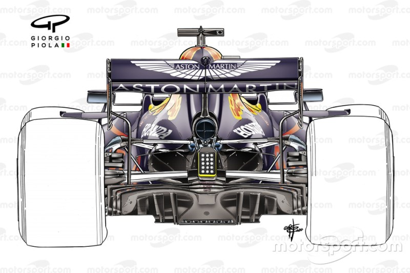 Red Bull Racing RB16 draagsysteem achtervleugel met één kolom
