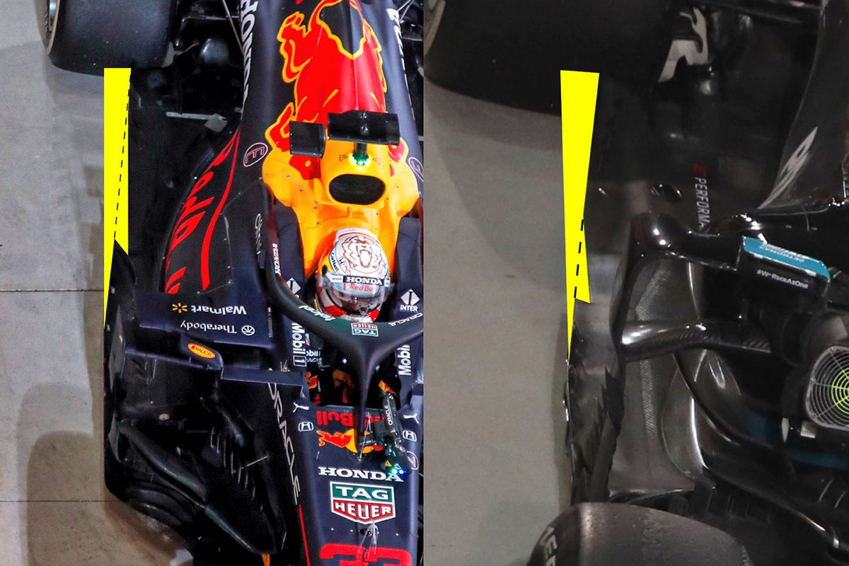 Comparison of Red Bull and Mercedes floors