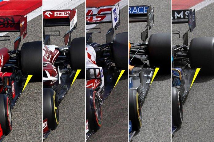 Krahasimi i dyshemesë Ferrari, Alfa Romeo, Haas, McLaren, Williams