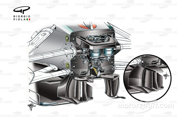 Mercedes W05 turning vanes, 4 elements rather than the 3 inset (First tested in Brazil)
