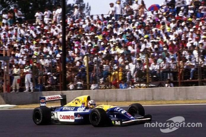 Nigel Mansell en el GP de México de 1992, el último antes del regreso de la F1 en 2015.