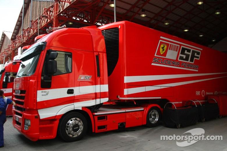 Valencia Circuit preparations, Scuderia Ferrari, truck at European GP