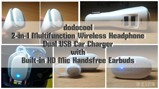 dodocool 2-in-1 Multifunction Wireless Headphone Dual USB Car Charger with Built-in HD Mic Handsfree Earbuds