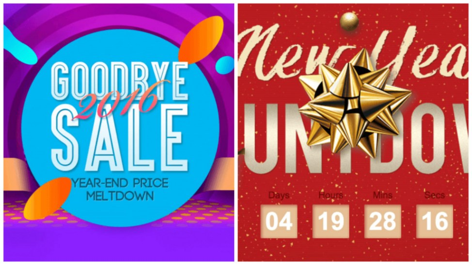 「GOODBYE 2016」と「New Year COWNT DOWN」セール