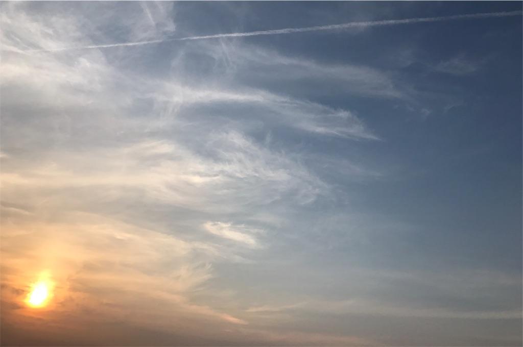 飛行機雲と夕焼け