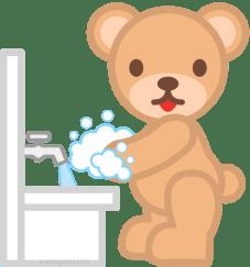 インフルエンザ予防の手洗いをする人