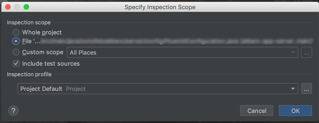 Inspection Scope を Whole Project に指定する