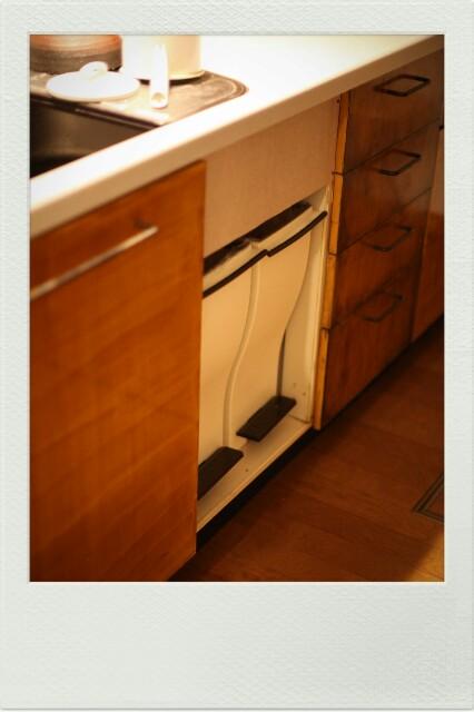 ビルトイン食洗機を廃棄して、できたスペースにゴミ箱を収納