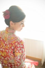 Kalamakeup bride Queenie getting ready for Chinese Tea Ceremony at Shatin Hyatt Hotel, H.K.
