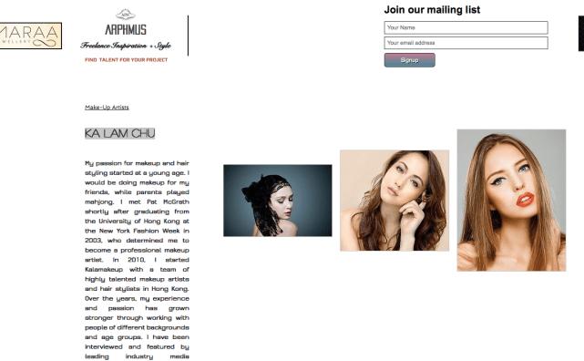 Freelance makeup artist website with Kalamakeup