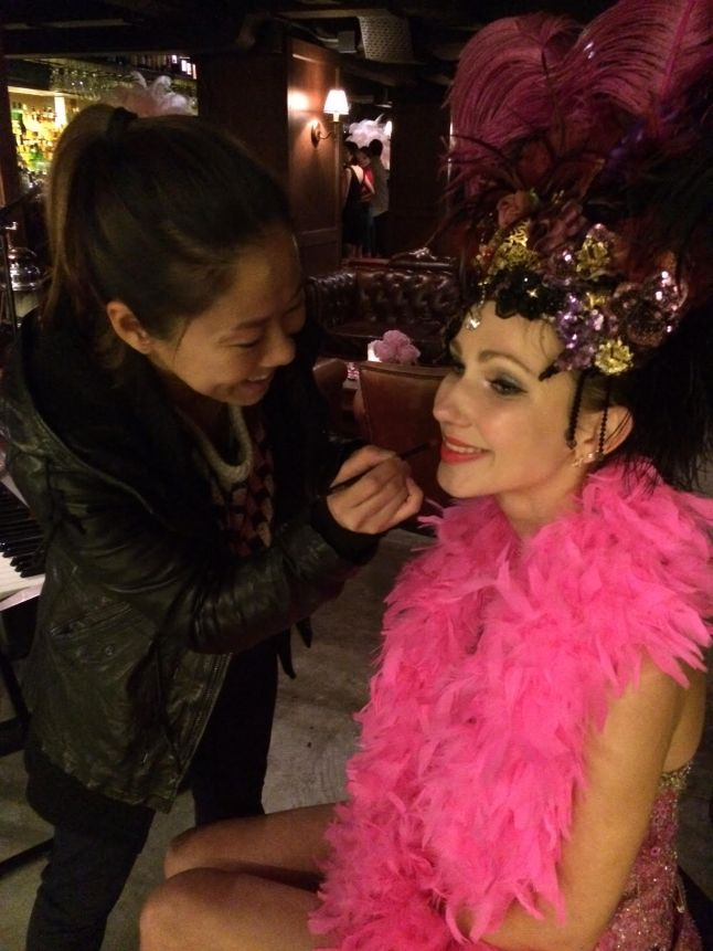 New York makeup artist Kalam working on Kate Spade model for an event