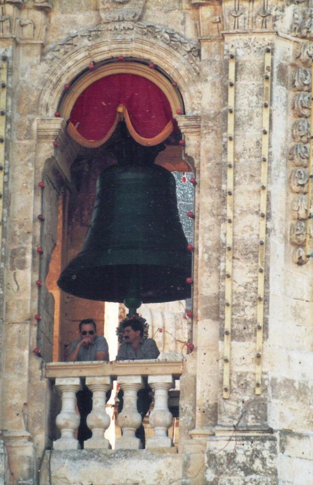 One of the bells at the Żabbar sanctuary.