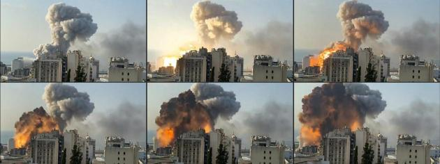 In this file combination of pictures created on August 04, 2020 UGC footage filmed from an office building shows a fireball exploding while smoke is billowing during a chemical explosion at the port of the Lebanese capital Beirut.