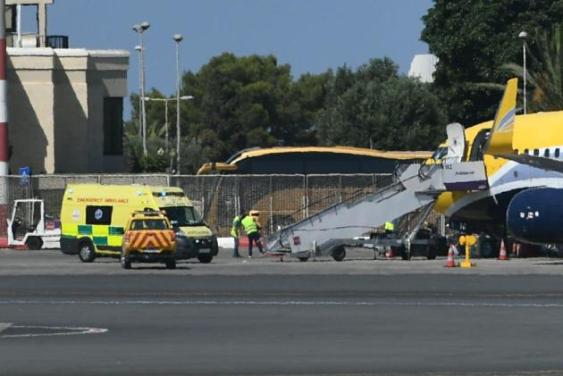An ambulance arrived with students infected with COVID-19 who left Malta for France on a special flight organised by the Malta Tourism Authority. Photo: Jonathan Borg