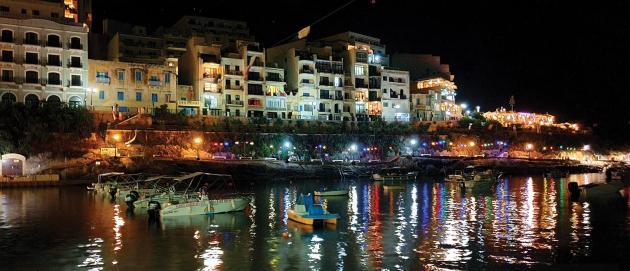 An attractive tourist night scene of modern Xlendi. Photo: J.J.P. Zammit