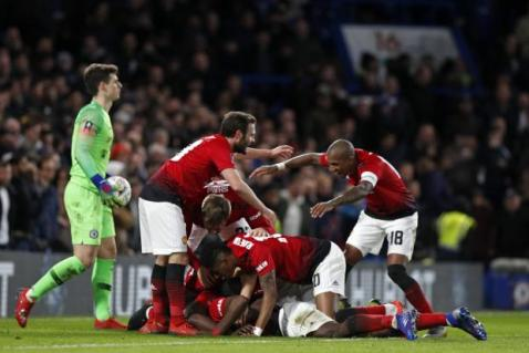 Image result for Sarri on the brink as Pogba fires United into FA Cup last eight