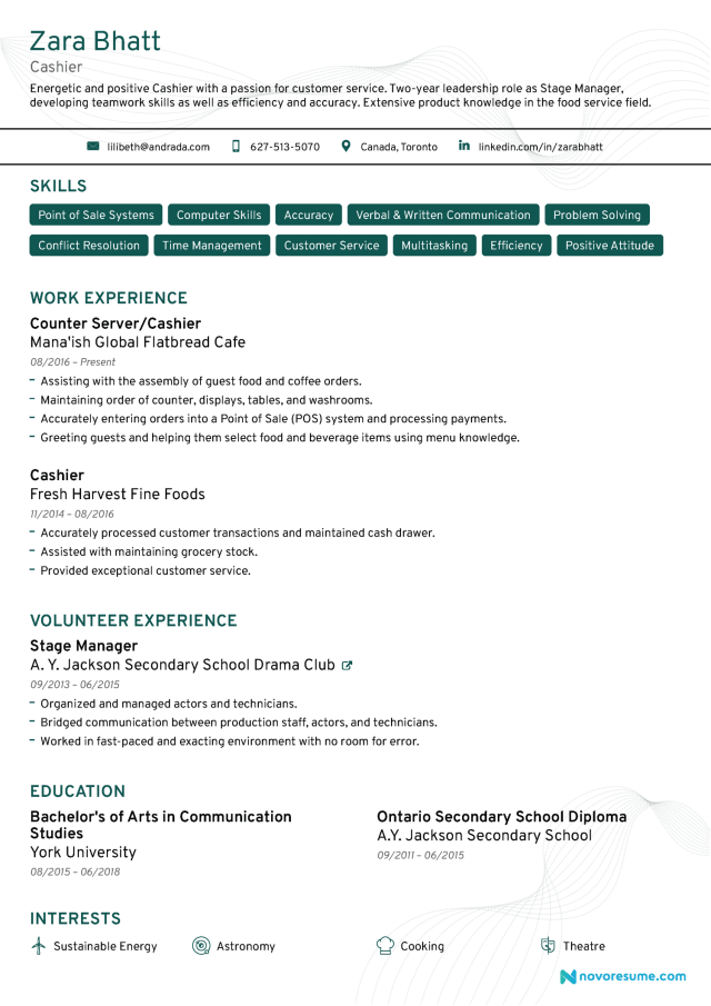 Cashier Resume Example & Writing Guide [For 14]