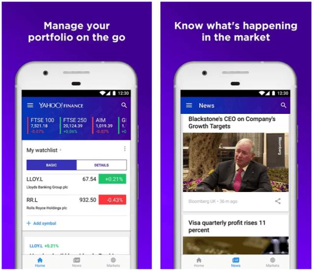 Best stocks tracking mobile app Yahoo Finance