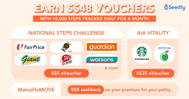 Earn S$48 Vouchers Every Month With 10,000 Steps With National Steps Challenge, AIA Vitality, and ManulifeMove