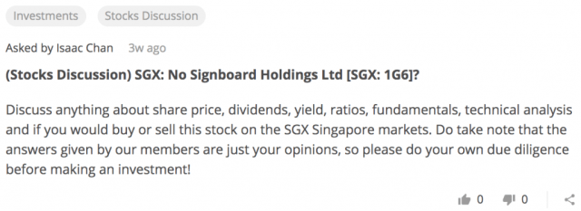 Stocks Discussion: Jumbo (SGX:42R), No Signboard Holdings (SGX: 1G6), Tung Lok Restaurants Ltd (SGX:540)