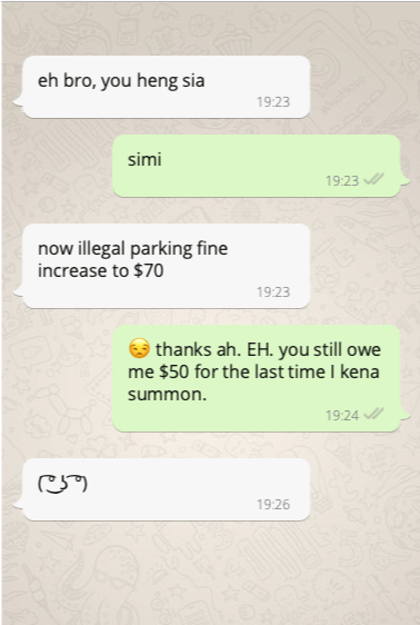 Whatapp Message About Parking Fine Change