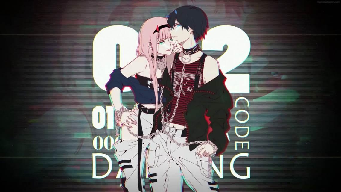Anime Zero Two And Hiro Animated Desktophut Com