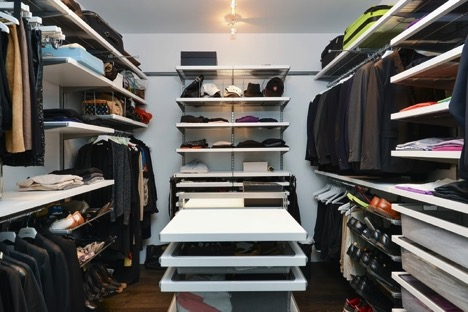 Neatly organized open closet