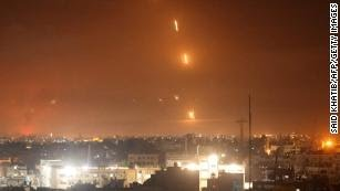 Rockets are launched towards Israel from Rafah, in the southern Gaza Strip.