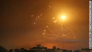 Israel's Iron Dome anti-missile system fires interceptor missiles.