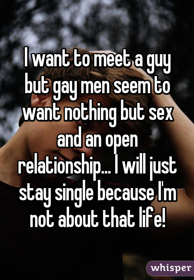 I want to meet a guy but gay men seem to want nothing but sex and an open relationship... I will just stay single because I'm not about that life!