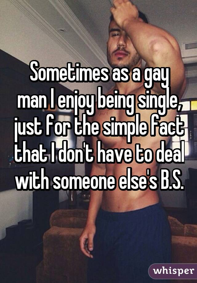 Sometimes as a gay man I enjoy being single, just for the simple fact that I don't have to deal with someone else's B.S.