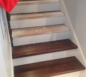 From Carpet To Wood Stairs Redo Cheater Version Hometalk | Cost Of Staining Stairs | Stair Railings | Hardwood | Stair Tread | Handrail | Basement Stairs