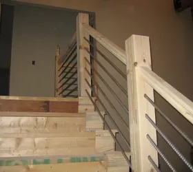 Diy Cable Rail Staircase Hometalk   Diy Farmhouse Stair Railing   Country Style   U Shaped   Horizontal Bar   Upcycled   Low Cost