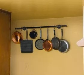diy pot rack with pipes from home depot hometalk