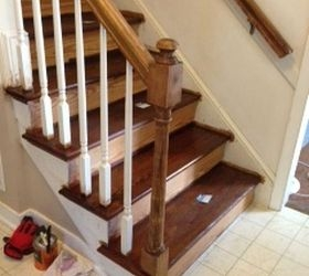 Painting Vs Staining The Newel Post On Staircase Hometalk   Handrail To Newel Post   Craftsman Style   Indoor Railing   Wood   Gray Stain   White Oak