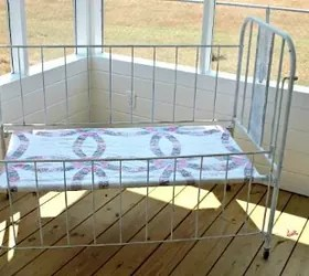 a vintage baby bed turned into a comfy bench | hometalk