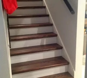 From Carpet To Wood Stairs Redo Cheater Version Hometalk | Carpeted Stairs To Wood Floor Transition | Laminate Flooring | Staircase | Hall Carpet Transition | Metal Edge Transition | Wooden