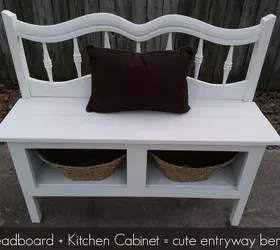 headboard and a kitchen cabinet make a great bench with storage